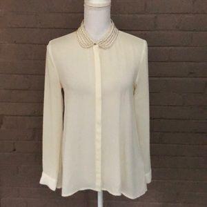 H&M  Ivory beaded collar blouse 8